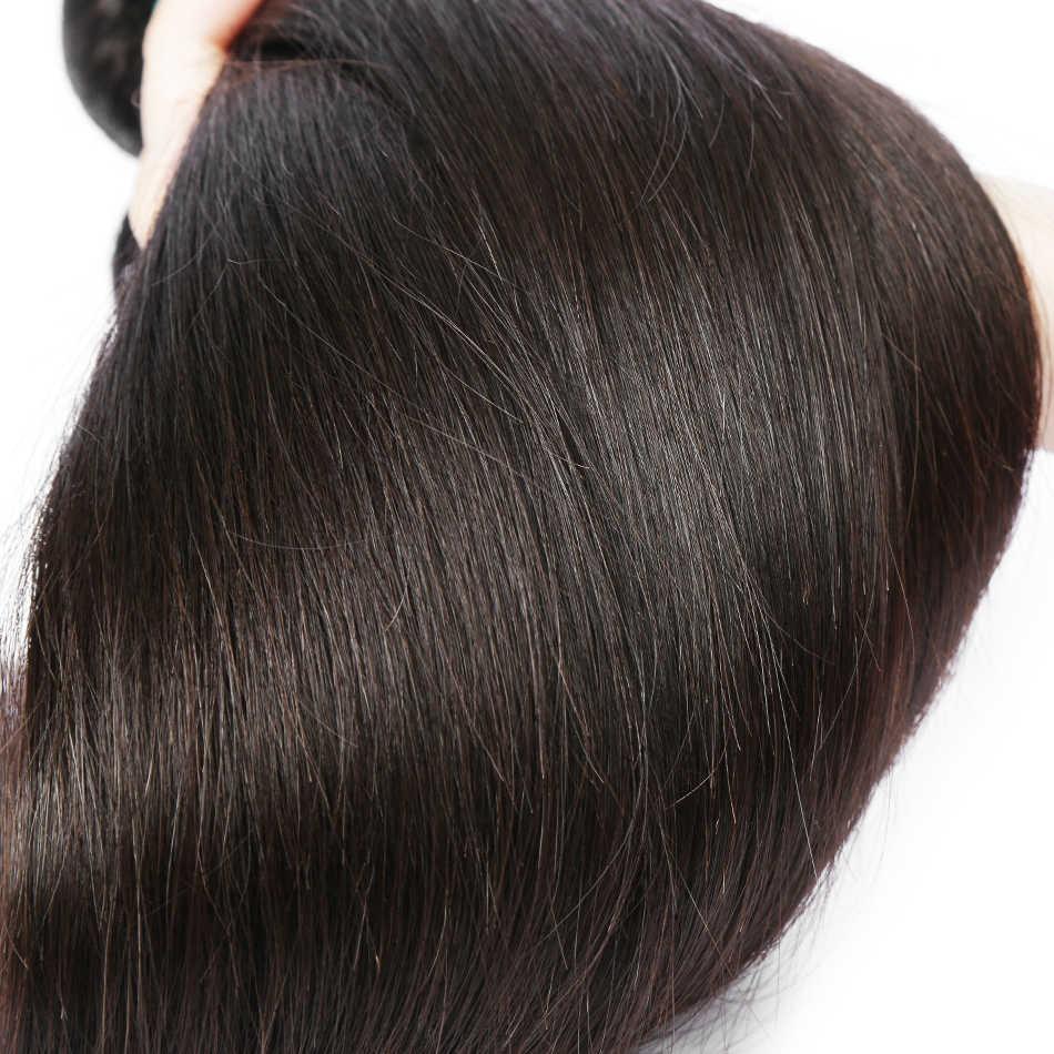 8A brezilyalı düz saç örgü demetleri ile kapatma Frontal % 100% İnsan saç demetleri ve dantel kapatma Remy saç ekleme
