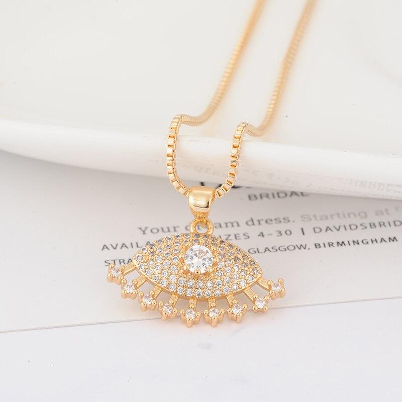 ZHINI New Fashion Copper Cubic Zirconia Eyes Sun Pendant Sweater Necklace Women Trendy Design Jewelry Chain Choker Collar E52497