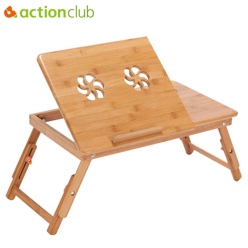 Actionclub Portable Folding Bamboo Laptop <font><b>Table</b></font> Sofa Bed Office Laptop Stand Desk With Fan Bed <font><b>Table</b></font> For Computer Notebook Books