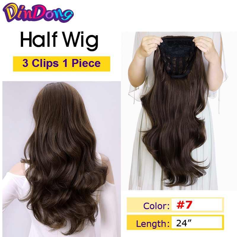 """DinDong 24 """"Кудрявые 3/4 женские полупарик Kanekalon синтетические парики с расческой на сеточной головке кепки клип в наращивание волос"""