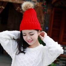 2018 moda Cute Knit Cap mujeres gorros Pom Poms sombrero de invierno de  punto niñas negro sólido rojo gris gorras de punto OLN03. 9200a9077d7