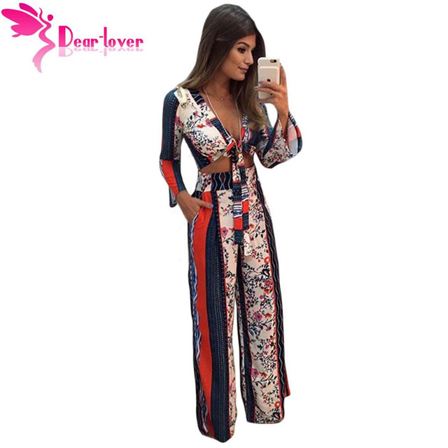 Dear Lover Office Vintage Casual Printed Bell Sleeve Crop Top Wide Leg Pant Set Autumn 2016 Women 2 Piece Clothes Outfit LC62031