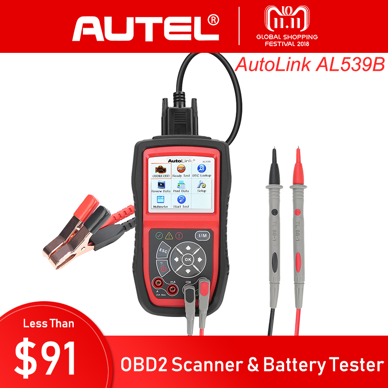 AUTEL AutoLink AL539 AL539B OBDII Electrical Test Tool with AVO Meter Professional OBD2 CAN Code Reader Scanner Diagnostic Tool цена и фото