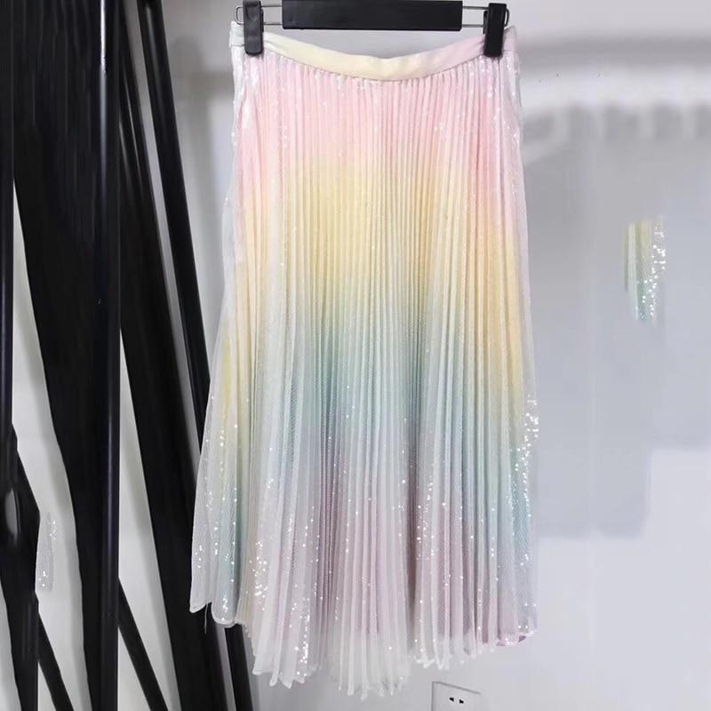 Femmes arc-en-ciel jupe été 2019 nouveau Boho plage jupes ensoleillées Floral ruché femmes jupe vêtements d'été