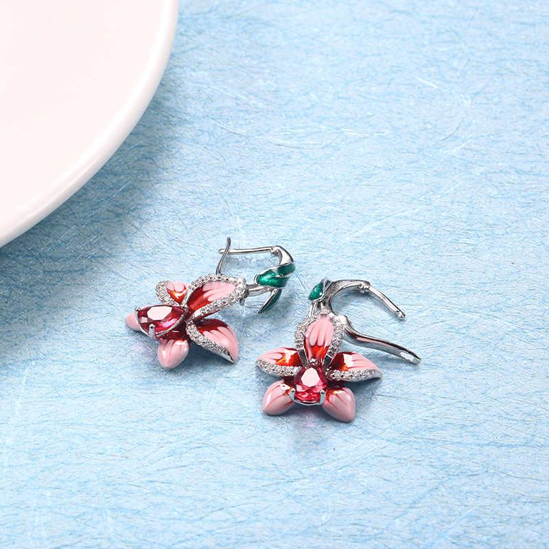 Pink orchid Copper Drop Earrings For Women Earrings Hanging Enamel Flower Earring With Stones Vintage Boho Long Earring Jewelry