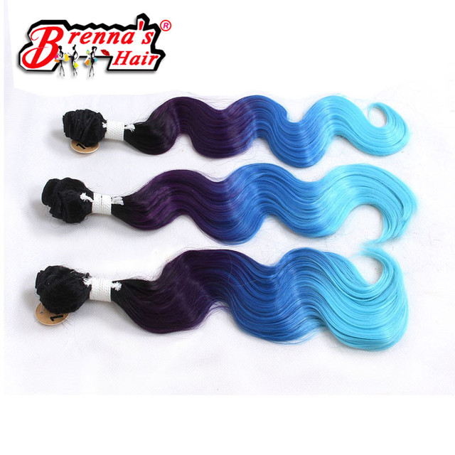 Black Blue Light Blue Eunice Synthetic Body Wave Hair Weaving Ombre