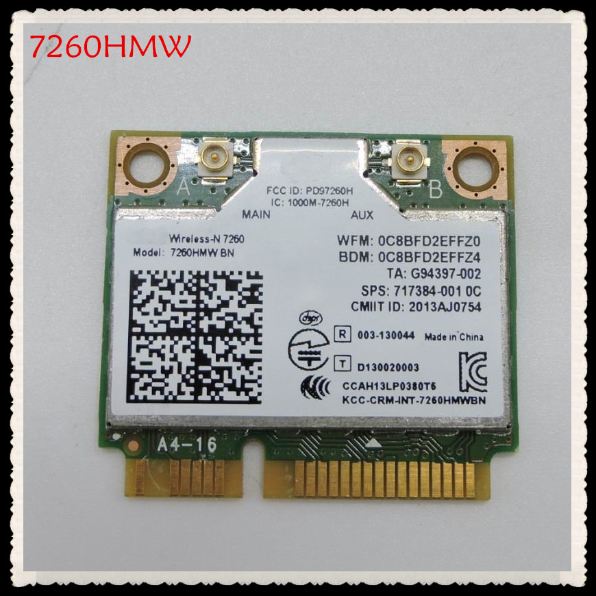 For 7260 Wireless-N Intel 7260HMW BN 802.11bgn 300Mbps Bluetooth 4.0 Mini PCI-E Wifi Card