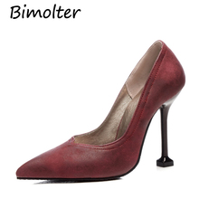 Bimolter New Woman Pointed Toe High Thin Heels Shoes Ladies Sexy 11CM Heels Pumps Classic Black Red Party Wedding Pumps PXEA010