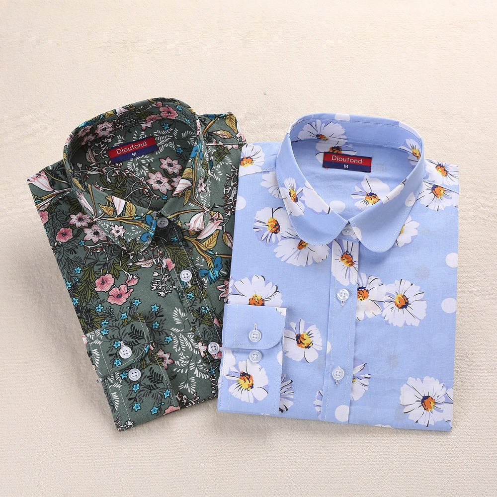 Dioufond Women Flower Blouses Cotton Floral Ladies Tops Summer Flower Shirts Blusas Femininas 5XL Plus Size Women Clothing