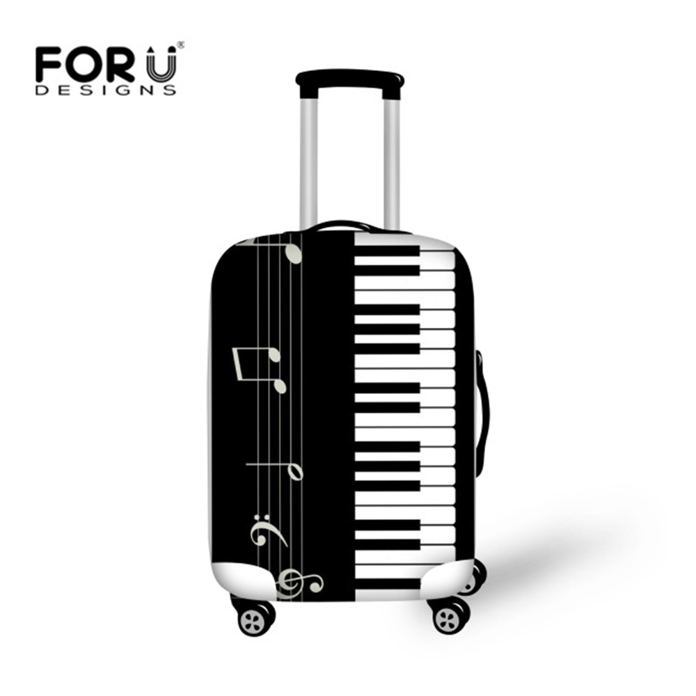 FORUDESIGNS Luggage Protective Cover Music Piano Print Travel Accessories For 18-30 Inch Trolly Suitcase Cover Dustproof Bags