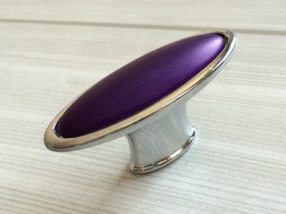 Oval Purple Knobs Drawer Pull Handles Kitchen Cabinet Door Chrome