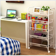 4 layers Superposition Shelf metal Storage Racks Kitchen Shelving Holders Multiuse Organizer with wheels can movable