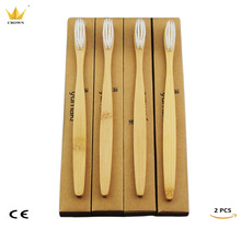 4 шт. Корона гладкой Стиль древесины зубная щетка Новинка Бамбука Зубная щетка мягкой щетиной головчатого бамбуковое волокно деревянной ручкой