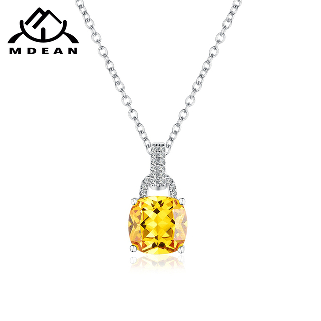 MDEAN Vintage Wedding Necklace for Women Wedding White Gold Color square AAA Zir