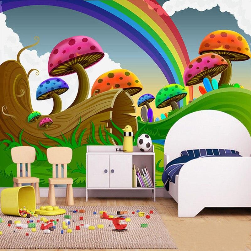 3D Cartoon Cute Mushroom Rainbow Mural Wallpaper Children's Room Eco-Friendly Background Wall Covering Mural Papel De Parede 3 D