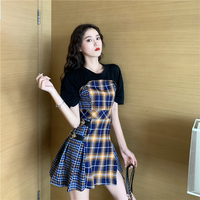 Korean streetwear plaid patchwork t shirt dress women 2019 summer backless fake two piece slim waist hip package dresses female