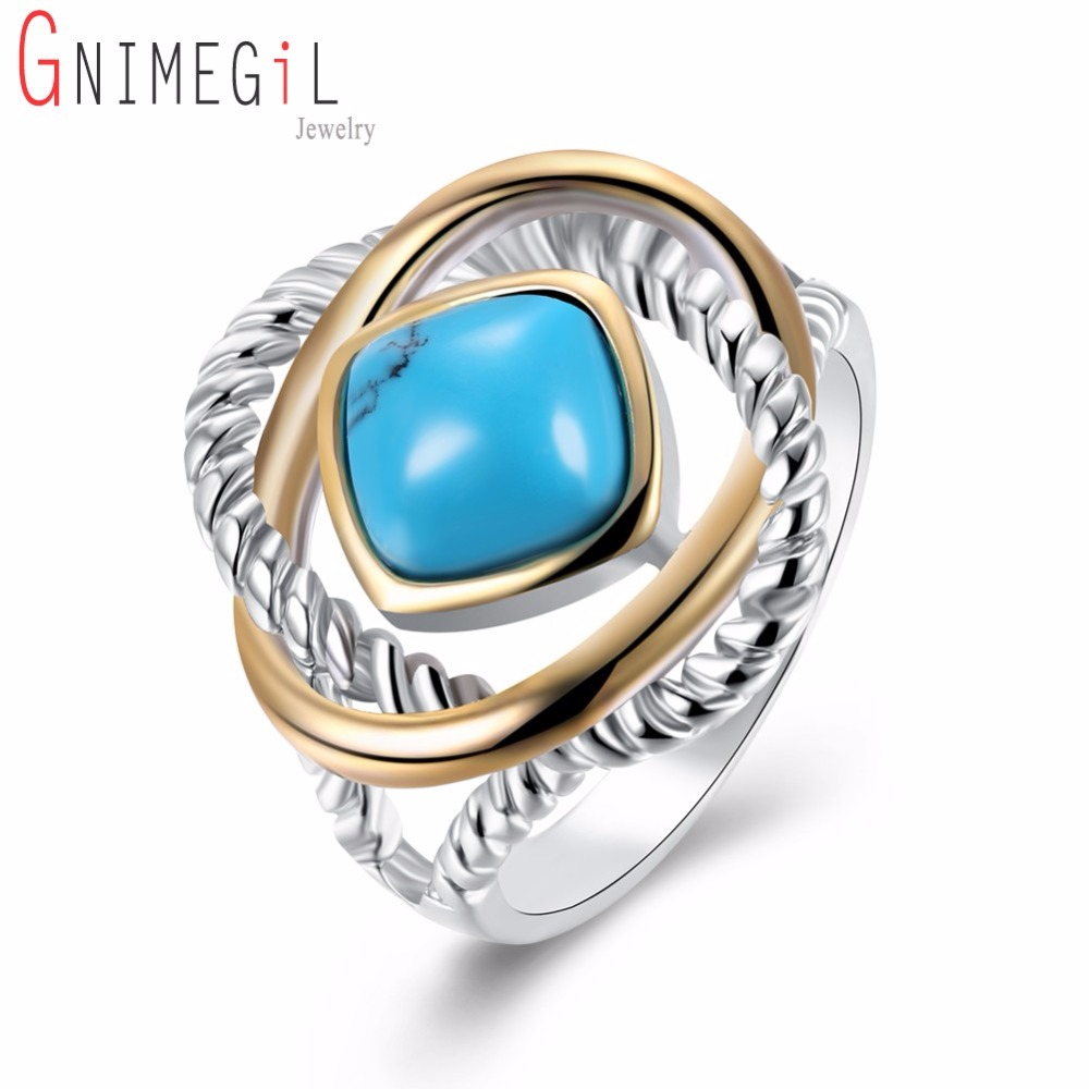 Brand Jewelry Vintage Antique White Gold/Black Color Green Stones Ring for Women Men Big Square Stone Finger Rings Gifts
