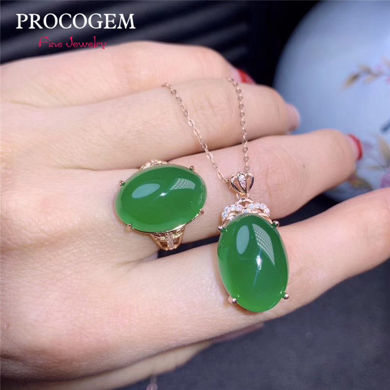 Natural Green Chalcedony Jewelry sets for women 13X18mm Big Genuine Gemstones with CZ Necklace Ring 925 Sterling silver #554Natural Green Chalcedony Jewelry sets for women 13X18mm Big Genuine Gemstones with CZ Necklace Ring 925 Sterling silver #554