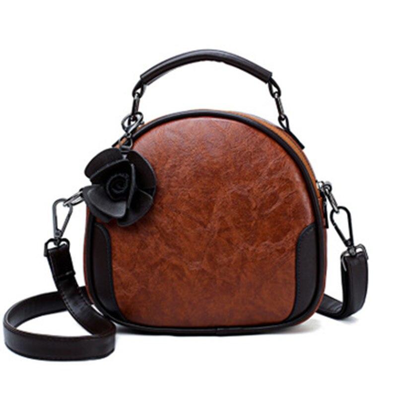Wild Oil Wax Leather Travel Bag Shoulder Messenger Bag Flower Travel Bag