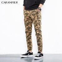 CARANFIER Pants Full Leng Cotton Casual Skinny Military Tactical Pants Men Slim Stretch Khaki Black Camo