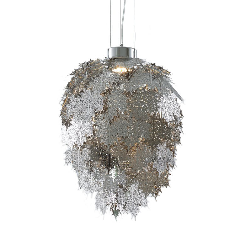 Us 253 57 15 Off Shadow Casting Pendant Lights Leaves Shape Stainless Steel Lampshade Home Lighting Lamp Fixtures Lampe Suspension Collection In