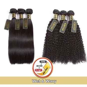 Wet And Wavy Human Hair Bundles Magic Hair Kinky Curly Bundles Peruvian Straight Hair Will Become Curly After We QT Non-remy