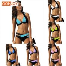 Купить с кэшбэком Classic Multicolor Solid Bikini Women Swimsuit Cross Waist Swimwear Paded Bathing Suit S-3XL Girl Push Up  Bodysuit Bikini Set