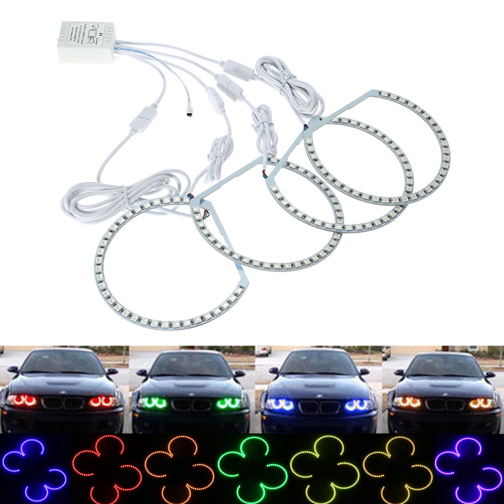 4x131mm 6000K Car LED Angel Eyes headlight kit Xenon Headlight RGB Multi-color Light Ring Remote Control for BMW E36 E38 E39 E46 4x xenon rgb remote multi color led angel eyes kit for bmw e90 2006 2008 e60