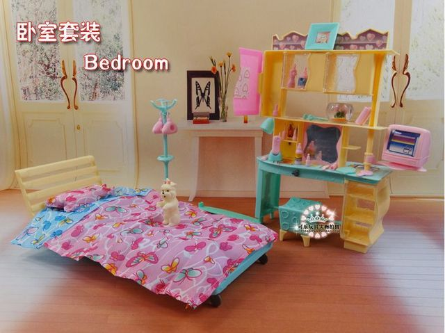 New Design Doll Bed Cabinet Set Dollhouse Bedroom Furniture DIY Fascinating Bedroom Furniture Accessories