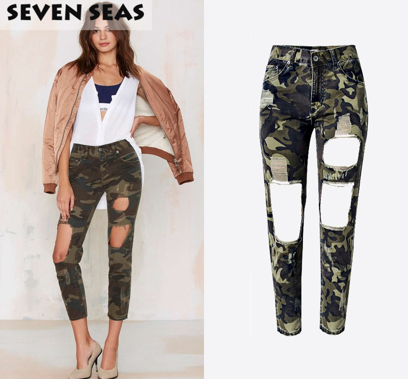 Mode Camouflage Print Ripped Jeans Frauen Plus Size Baggy Boyfriend - Damenbekleidung