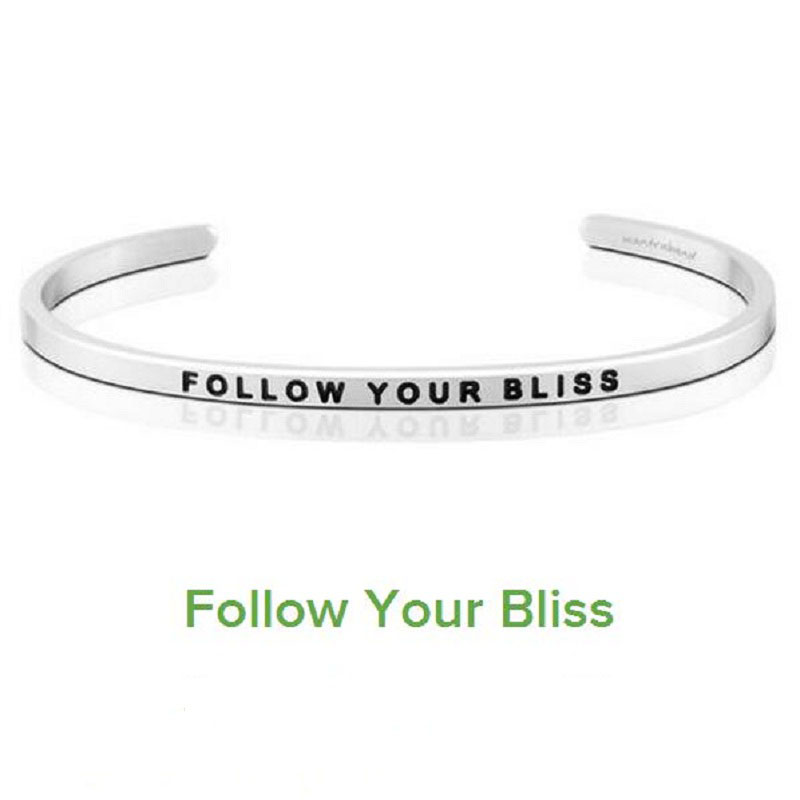 Silver FOLLOW YOUR BILSS Cuff Bracelet Bangle Stainless Steel Engraved Positive Inspirat ...