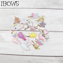 Hair Accessories 6 Pcs /Lot Small Cute Clips for Baby Girls Handmade Hairgrips with Glitter Patches Fashion Barrettes