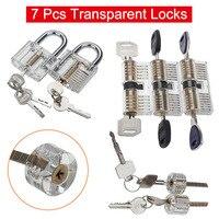 7 Pcs Transparent Locks Padlock Visible Cutaway Full Kit For Players Practice PAK55
