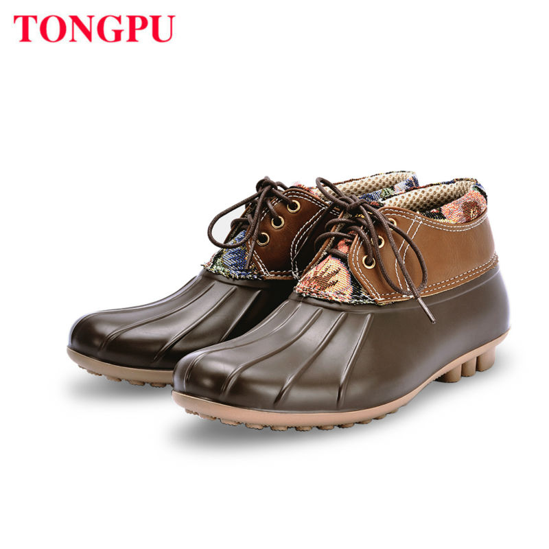 TONGPU FASHION RAIN BOOT ANKLE LOW UPPER BOOT LADY FASHION STYLE FAVOURITE SHOES BEST SELECTION IN SPRING AUTUMN SEASON
