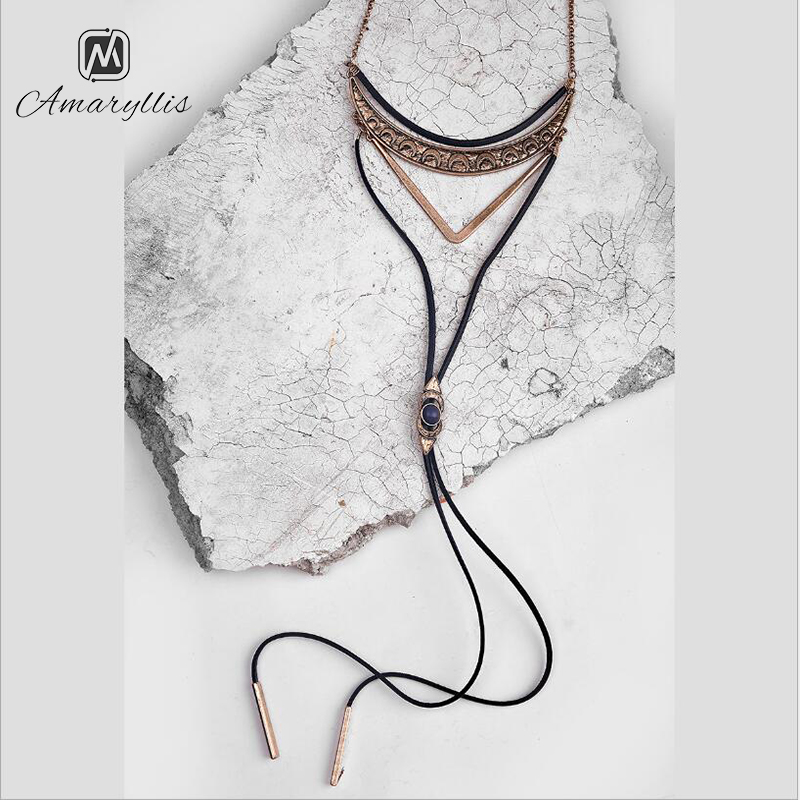 Amaiyllis Tribal Moon Crescent V layer Pendant Choker Necklace For Women long Leather Dangle Sweater Necklace Mix Ethnic Collar