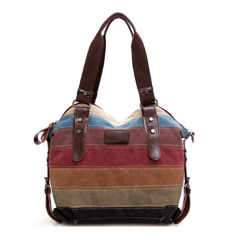 Canvas Handbags Patchwork Rainbow Color Women Canvas Shoulder Bag Multifunction Messenger Bag Women Crossbody Bag bolsos