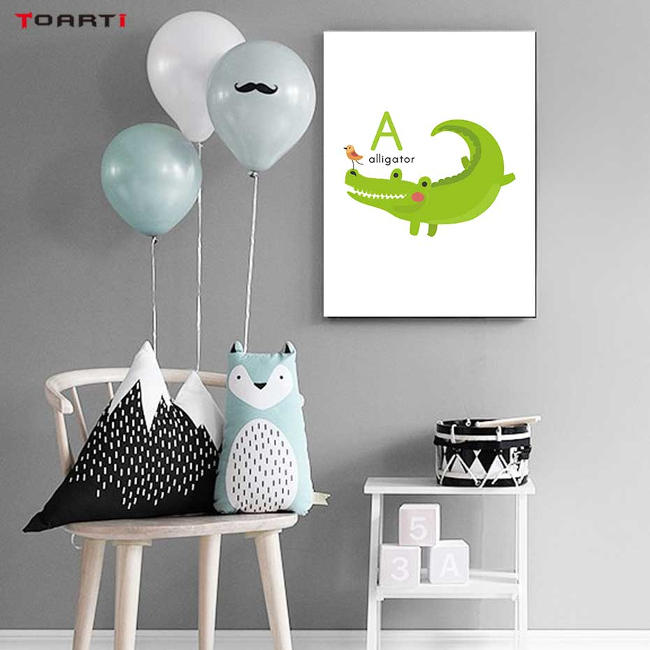 Image 5 - Cartoon Animals Alphabet Prints Posters Alligator Bee Canvas Painting On The Wall Colorful Art Pictures Kids Bedroom Home Decor-in Painting & Calligraphy from Home & Garden