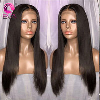 EVA Full Lace Human Hair Wigs Pre Plucked Hairline With Baby Hair Glueless Straight Lace Wig For Black Women Brazilian Remy Hair