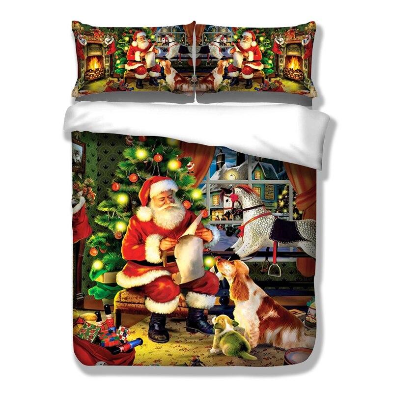 Wongsпостельное белье Рождество набор пододеяльников для пуховых одеял HD печати Рождественский подарок Санта Клаус постельные принадлежнос...