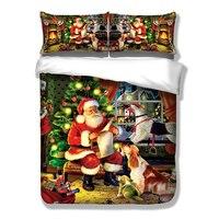 Wongsbedding Christmas Duvet Cover Set HD Print Xmas Gift Santa Claus Bedding Set Twin Full Queen