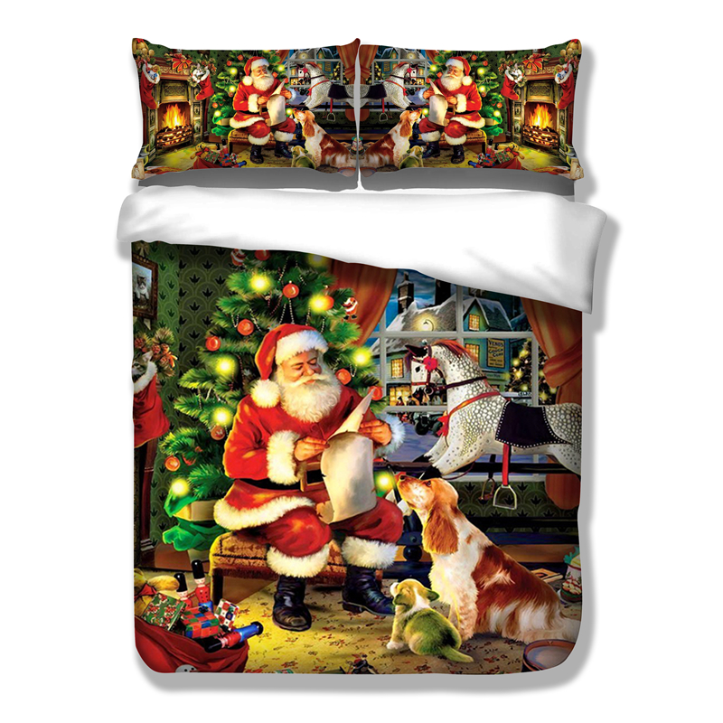 Wongsbedding Christmas Duvet Cover Set HD Print Xmas Gift Santa Claus Bedding Set Twin Full Queen King Size 3PCS Bedding