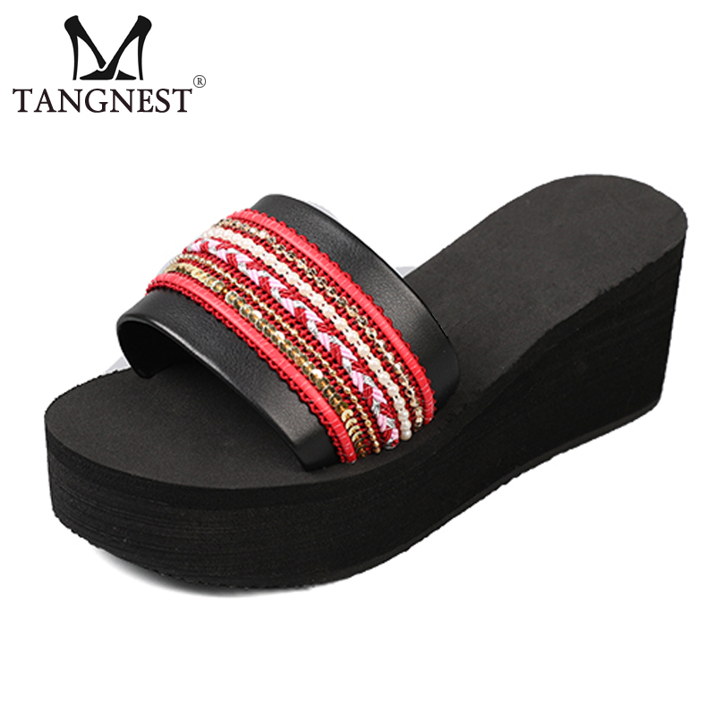Tangnest New <font><b>Women</b></font> Platform Slides Summer Beach Outside <font><b>Wedges</b></font> Slip-On Red Creepers Lady <font><b>Sexy</b></font> <font><b>High</b></font> <font><b>Heels</b></font> Elegant <font><b>Shoes</b></font> XWT1542 image