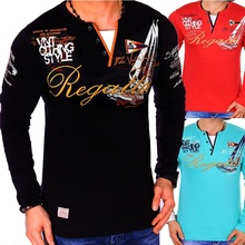 Мужская Повседневная рубашка поло ZOGAA, приталенная рубашка поло с длинным рукавом и принтом, одежда для мужчин, 2019