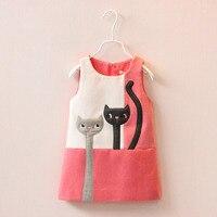New Fashion Girls Vest Skirts Woolen Winter Girl Princess Dress Cat Printing Christmas Dress For Girl