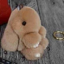 NEW Bunny Keychain Fluffy Rex Rabbit Fur Pompoms Key Chain Woman Gift Jewelry Fur Pom Pom Bag Charm Car Pendant Key Ring Holder