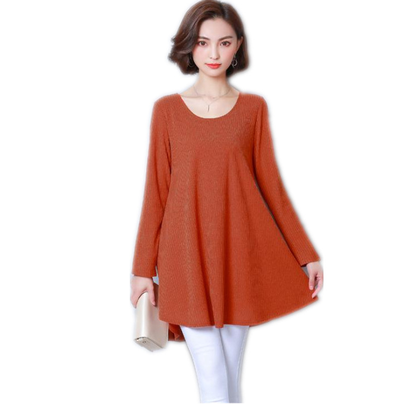 Pullovers 2018 New Spring Autumn Elegant Bow Knitted Women Long Sleeve Dress Female Plus Size 5XL Loose O-Neck Mini Dress CQ1440 plain loose long sleeve plus size dress