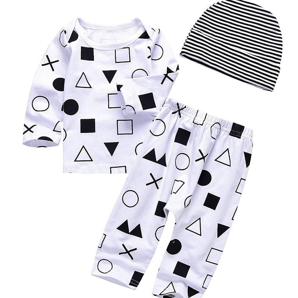 Fashion Baby Unisex Bodysuit Longsleeve Tops+Legging Pants+Hat Outfit Sets