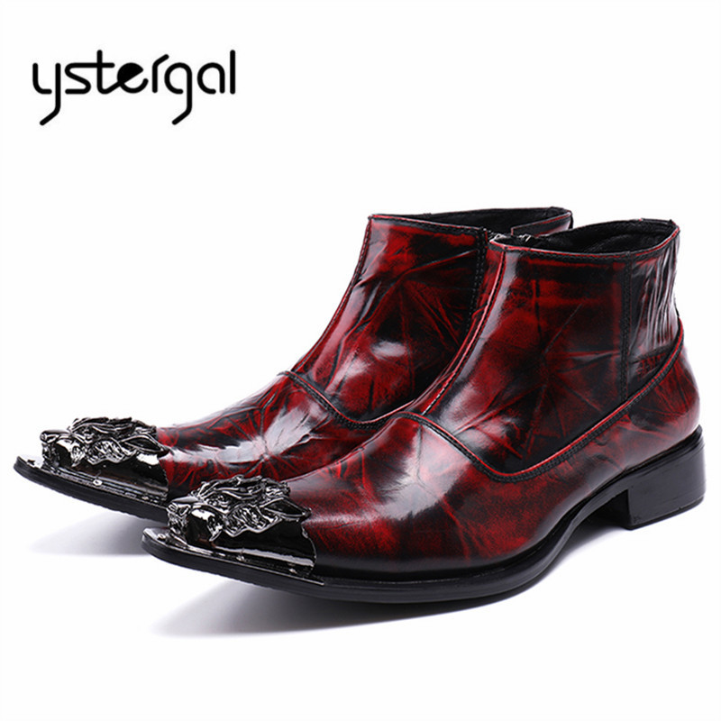 YSTERGAL Wine Red Men Genuine Leather Wedding Boots Metal Pointed Toe Ankle Boots Mens Business Formal Shoes Botas Militares crocodile grain wine red black pointed toe dress shoes mens business shoes genuine leather formal man wedding shoes