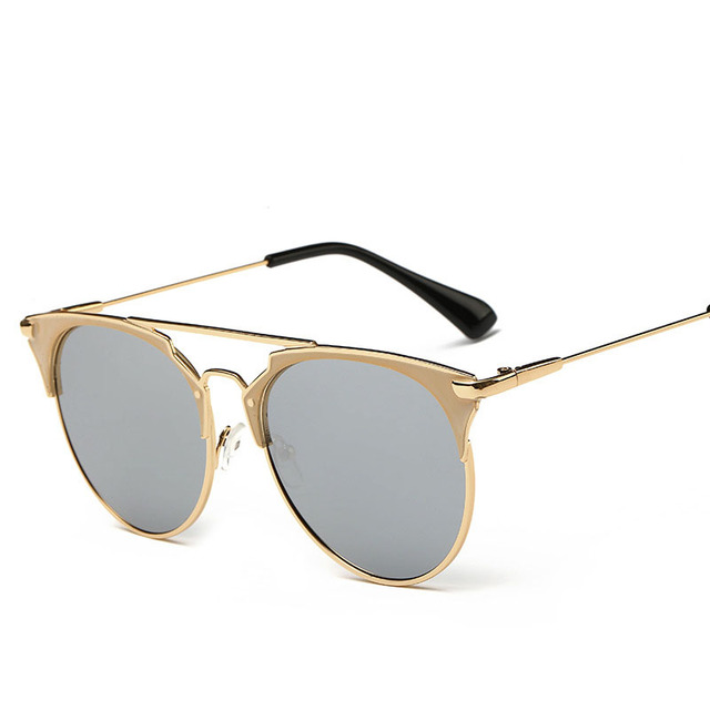 Fashion Retro Round Cat Eye Sunglasses Men Women Designer Eyewear Metal Frame UV400 Glasses