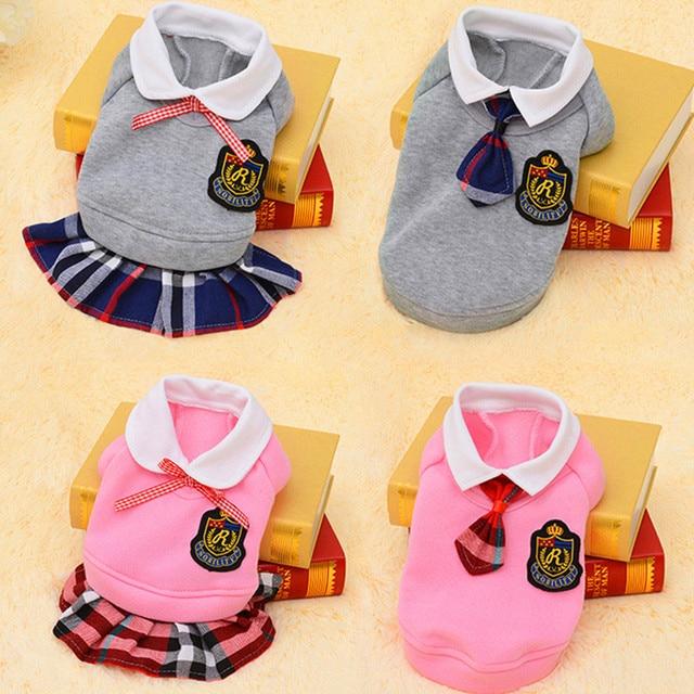 Ropa de perro de moda traje de escuela ropa para mascotas para camiseta de perro pequeño suéter Jersey de cachorro traje de primavera vestido de perro suministro